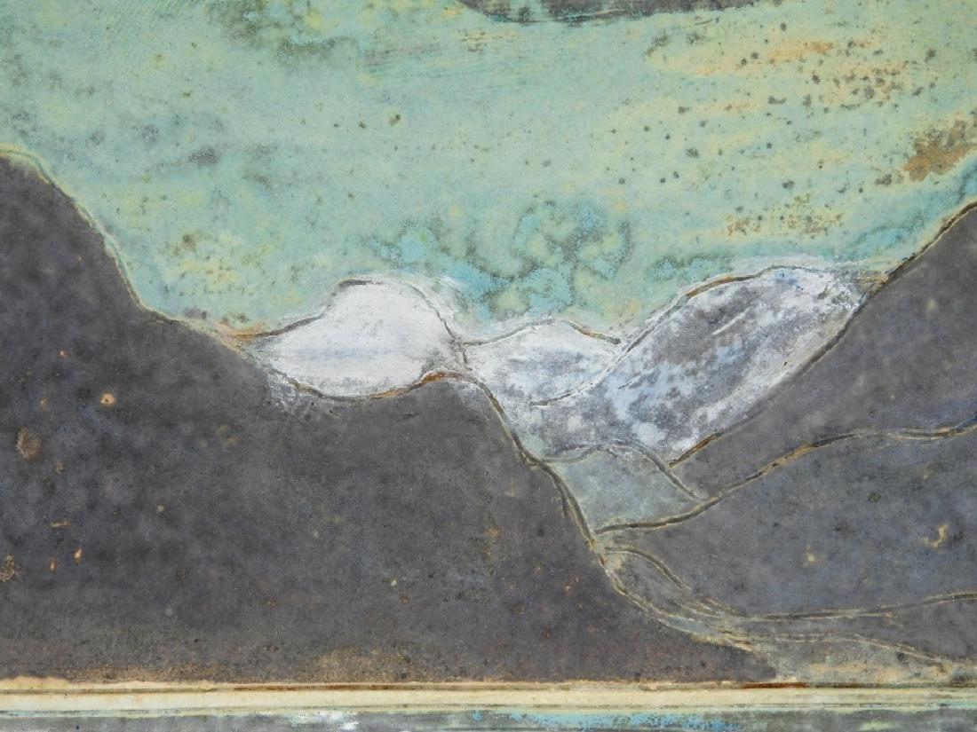 Unusual MCM Incised Art Pottery Landscape Tile - 2