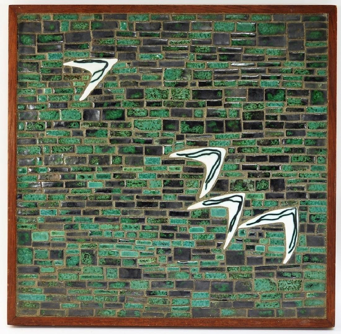 MCM Abstract Mosaic Art Pottery Tile Sculpture