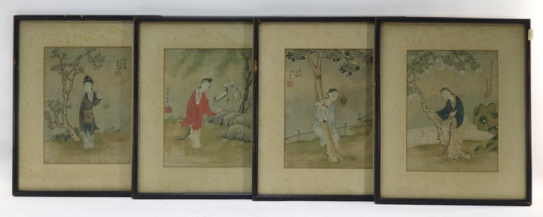 Set 4 18C. Chinese WC Paintings of Courtesan Women