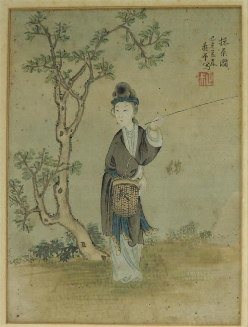 Set 4 18C. Chinese WC Paintings of Courtesan Women - 2