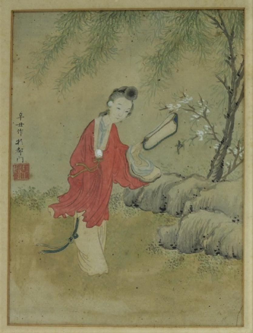 Set 4 18C. Chinese WC Paintings of Courtesan Women - 4