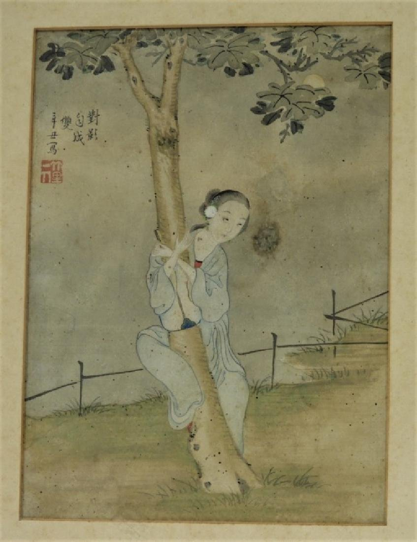 Set 4 18C. Chinese WC Paintings of Courtesan Women - 6
