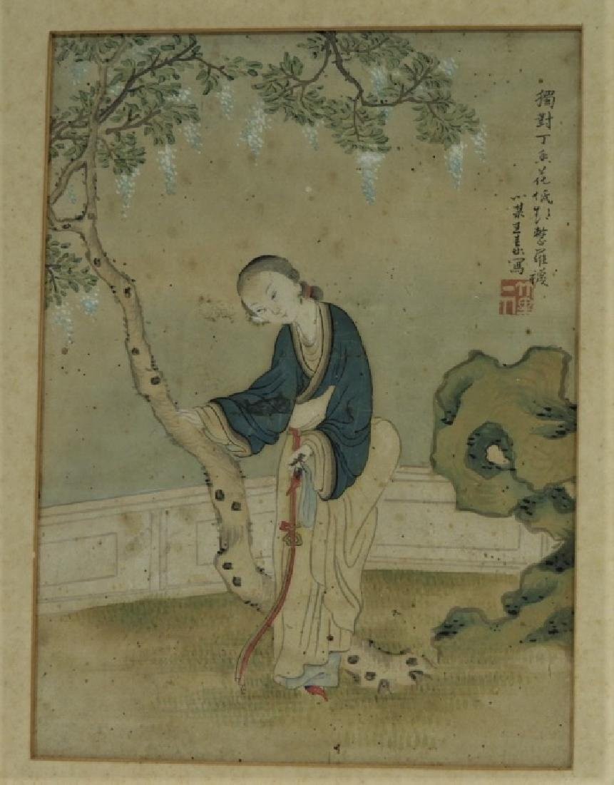 Set 4 18C. Chinese WC Paintings of Courtesan Women - 8