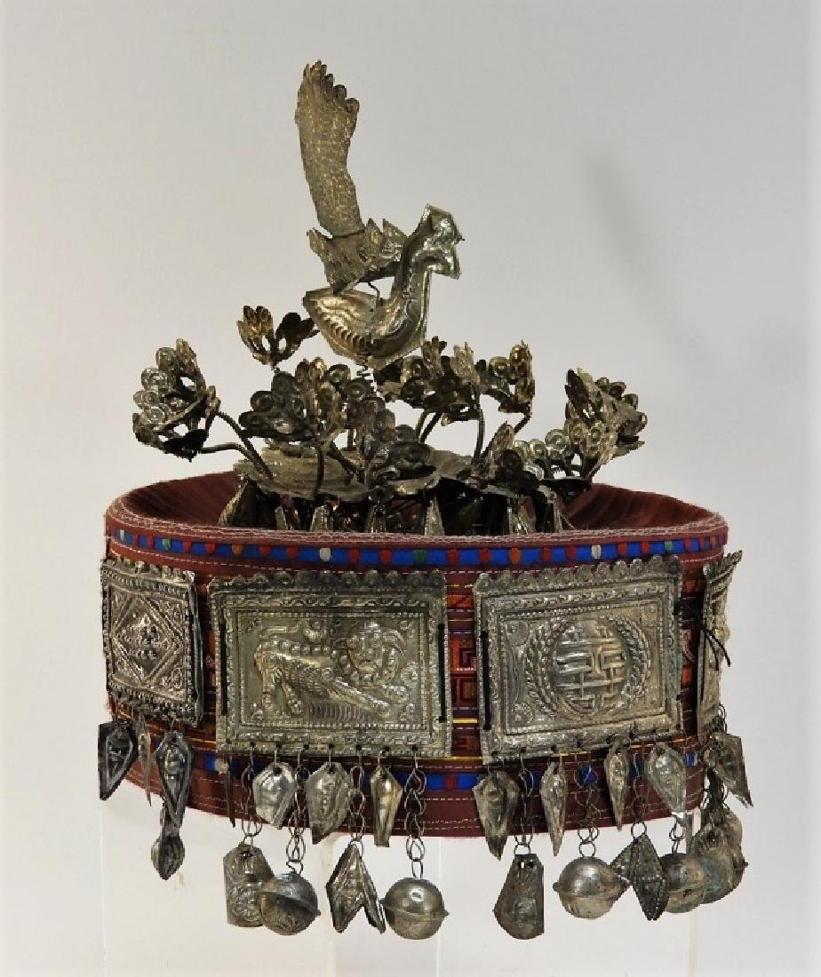 South East Asian Silver Alloy Ceremonial Silk Hat