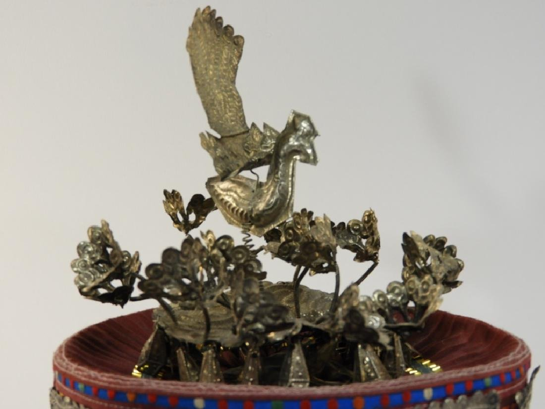 South East Asian Silver Alloy Ceremonial Silk Hat - 2