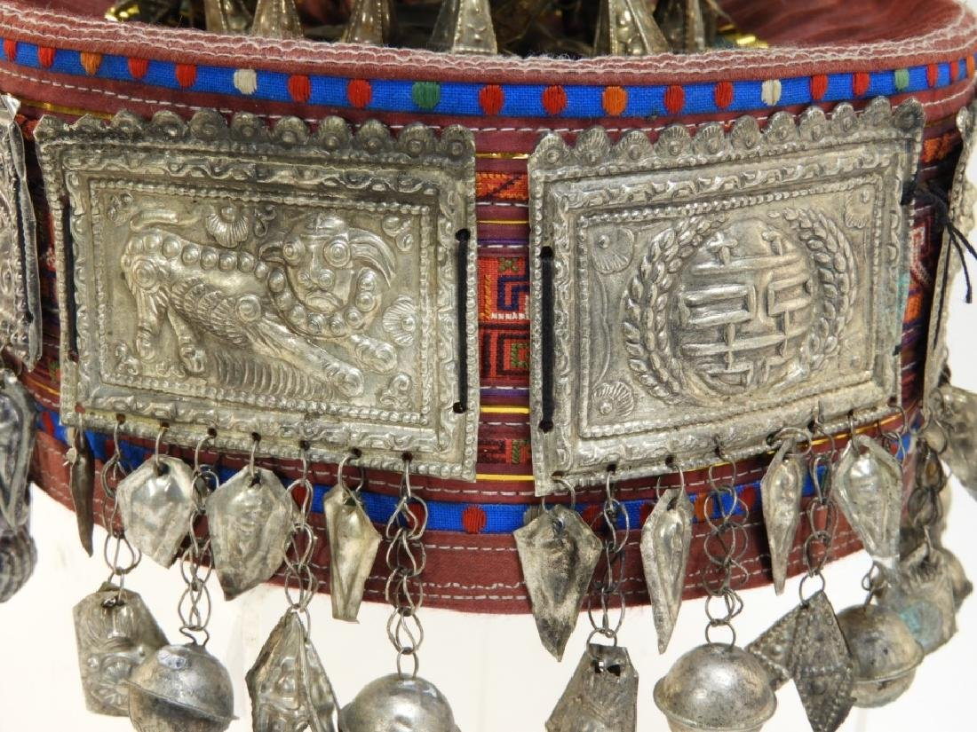 South East Asian Silver Alloy Ceremonial Silk Hat - 3