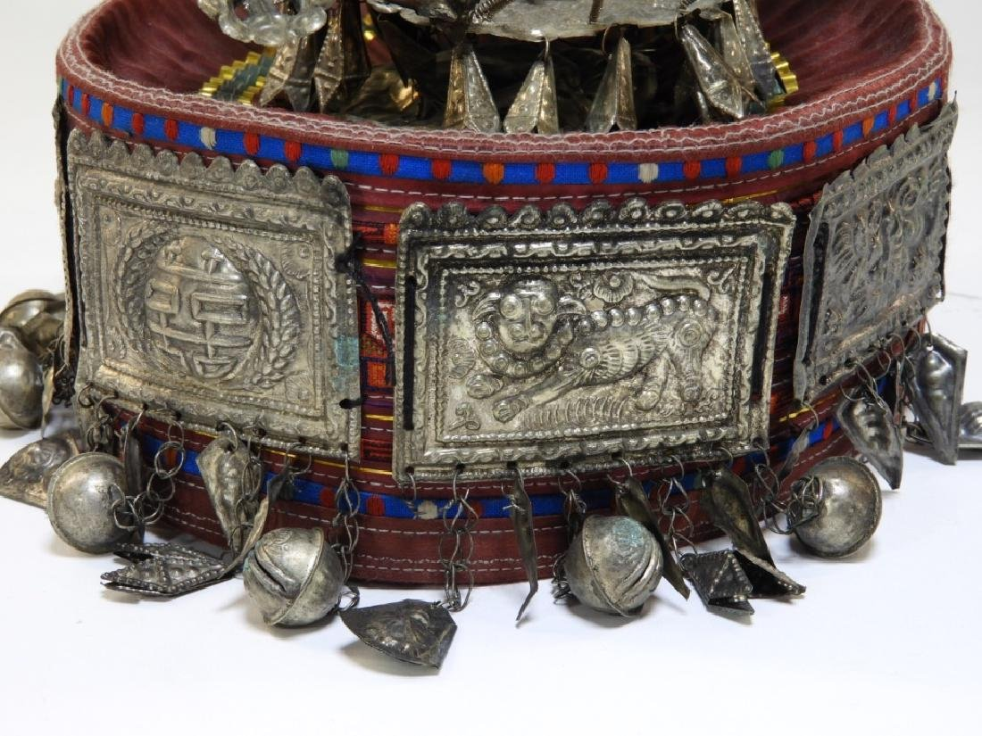 South East Asian Silver Alloy Ceremonial Silk Hat - 4