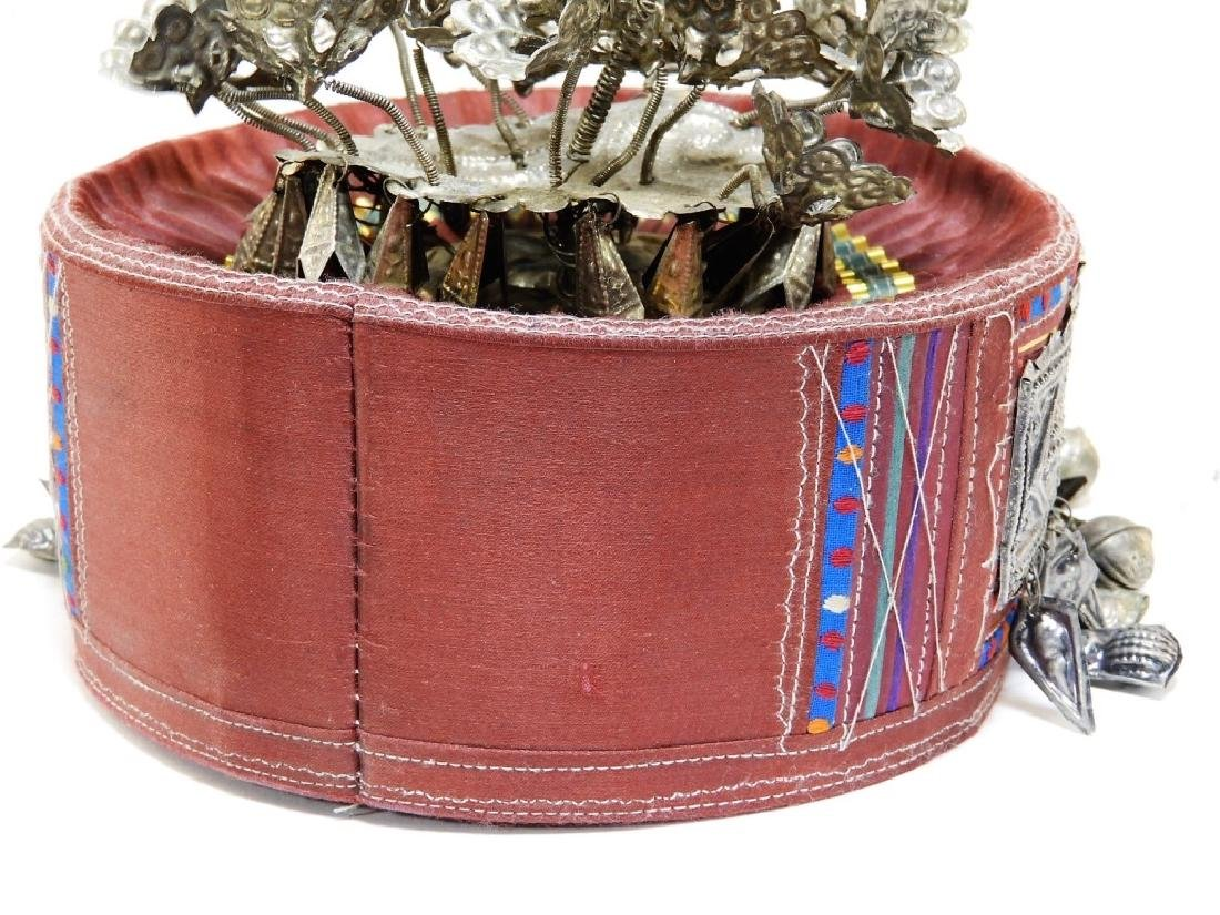 South East Asian Silver Alloy Ceremonial Silk Hat - 5