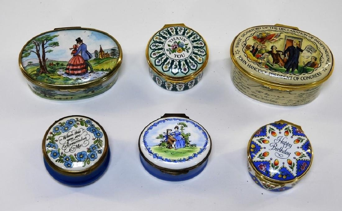 6 Bilston & Battersea Halcyon Days Enamel Boxes