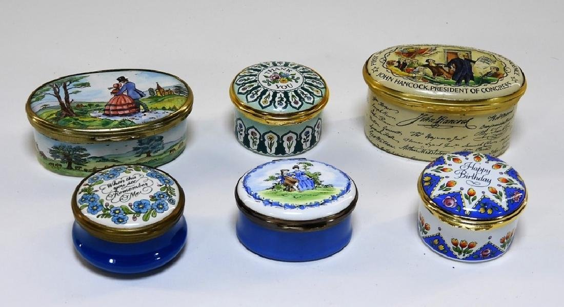 6 Bilston & Battersea Halcyon Days Enamel Boxes - 2