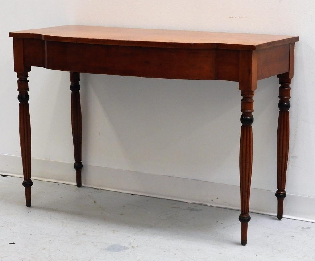 19C. American Sheraton Carved Cherry Console Table