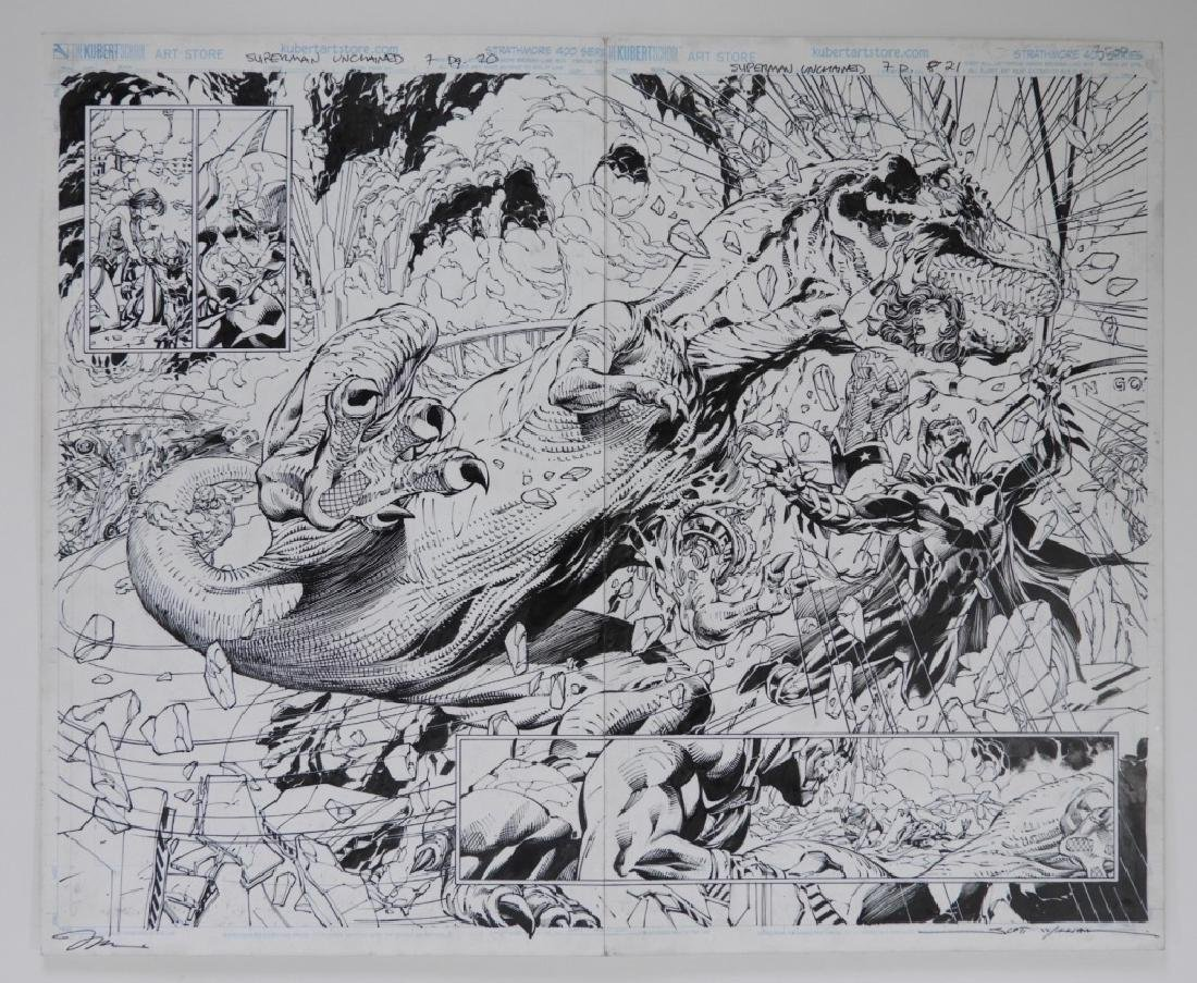 Jim Lee Scott Williams Superman Original Comic Art