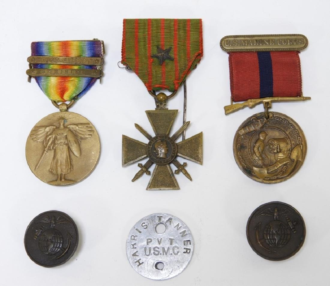 WWI Medal & Dog Tag Lot Named to a US Marine