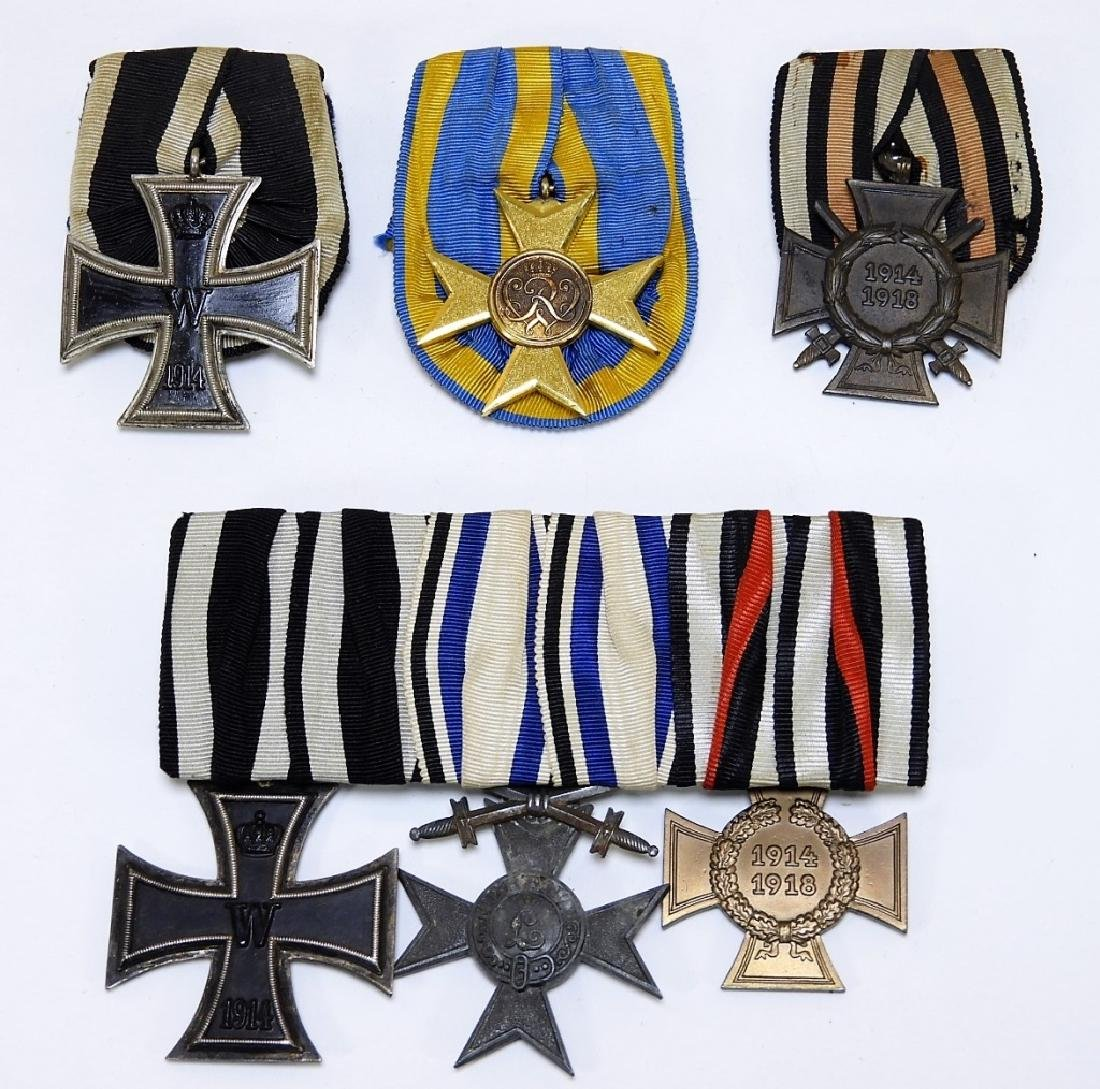 WWI German Medal Bar Medals & Prussian Cross