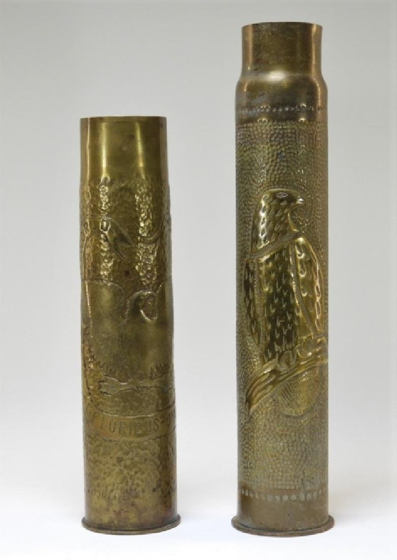 WWI Hand Tooled Trench Art Shells w/ Eagle Design