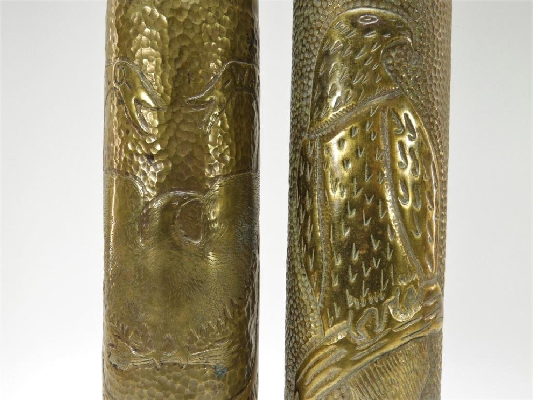 WWI Hand Tooled Trench Art Shells w/ Eagle Design - 4