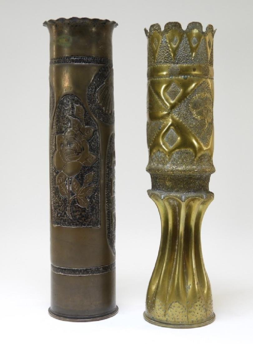 """WWI Hand Tooled Trench Art Shells """"AEF 1919"""" (2) - 3"""
