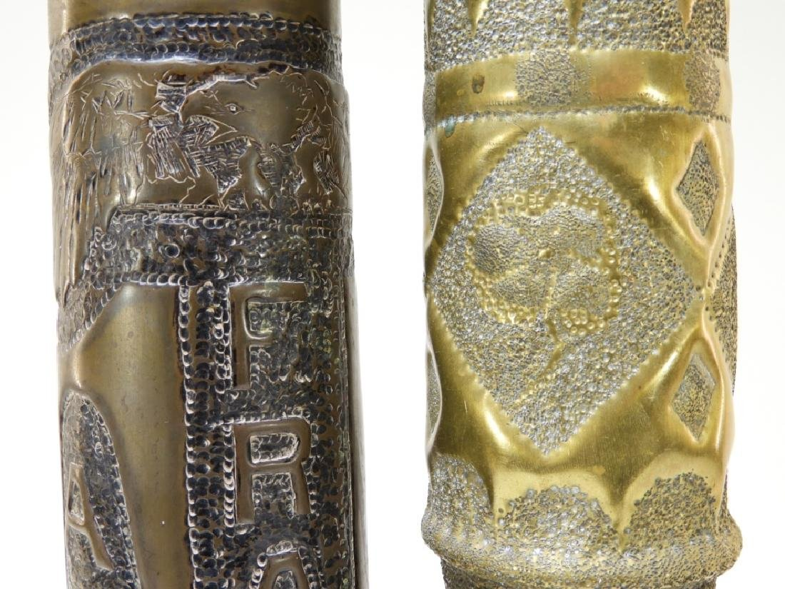 """WWI Hand Tooled Trench Art Shells """"AEF 1919"""" (2) - 4"""