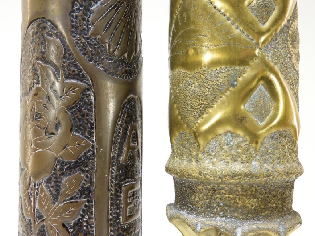 """WWI Hand Tooled Trench Art Shells """"AEF 1919"""" (2) - 5"""