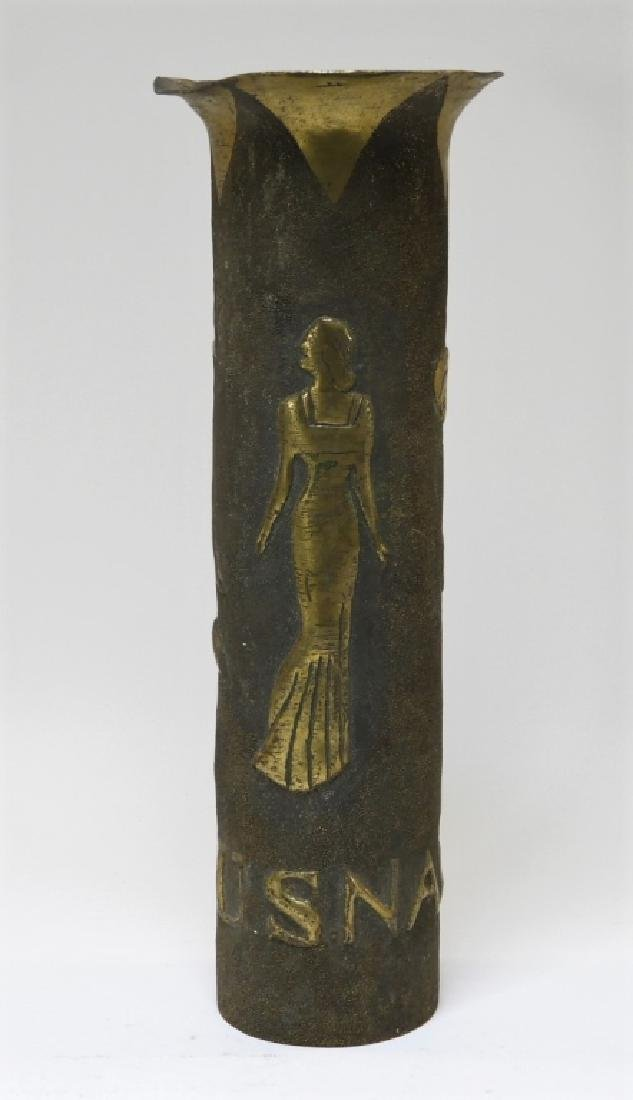 WWI U.S. Navy Trench Art Shell with Lady Bathers