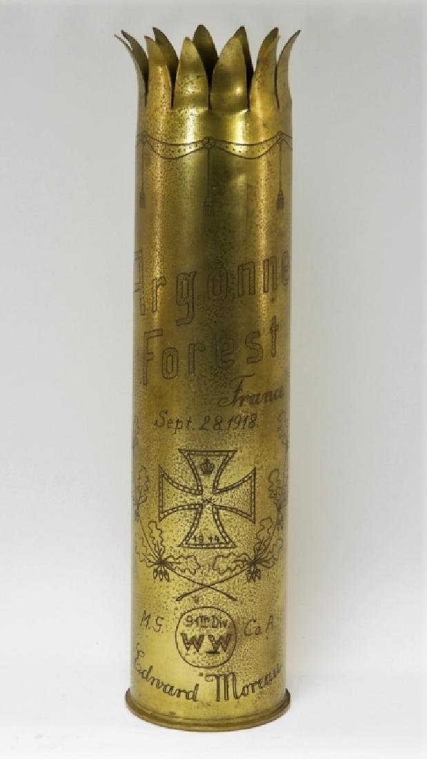 Exceptional WWI Trench Art Shell ID'd 91st Div.