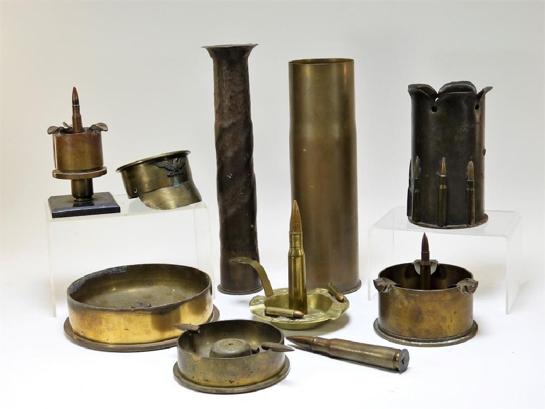 WWI Trench Art Cigarette Ash Trays and Other Items