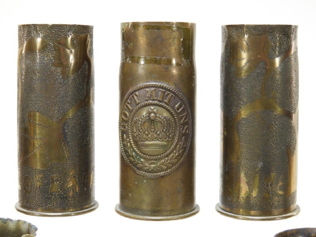 WWI Trench Art Shell With Tank & Iron Cross (8) - 2
