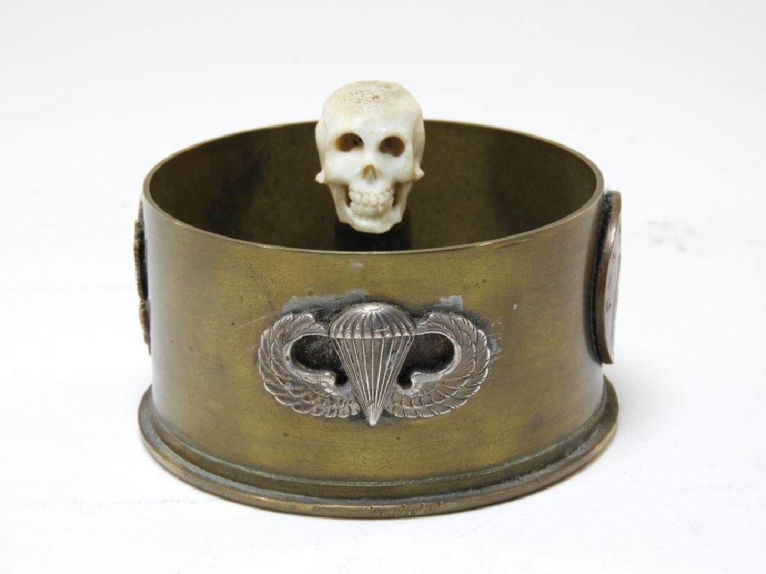 WWII U.S.Airborne Trench Art with Wings Lt Col Pin - 2