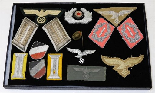 WWII German Army & Luftwaffe Insignia, Hat Badges