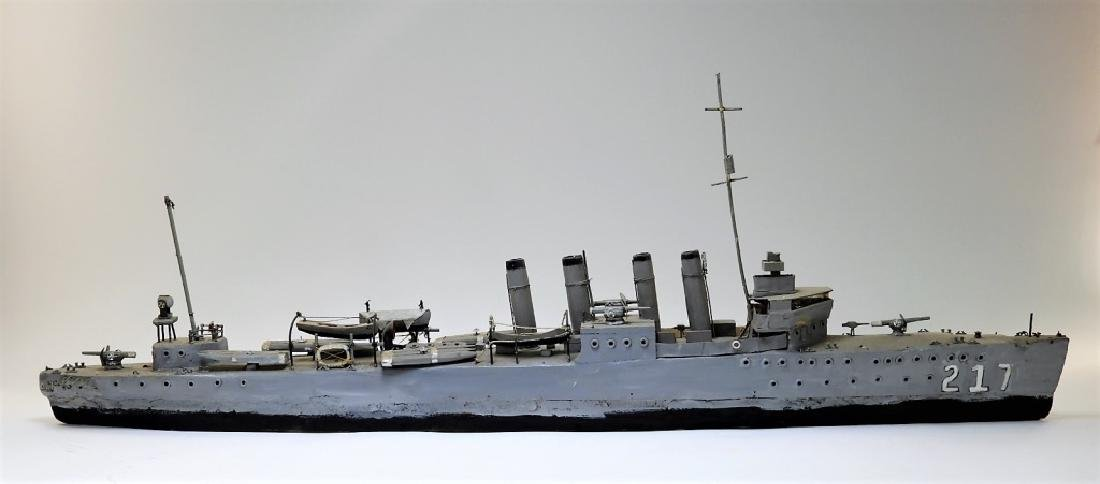 Wood Carved Ship Model of a WWI Period Destroyer