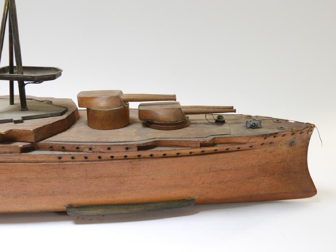 Carved Ship Model Spanish American War Battleship - 2