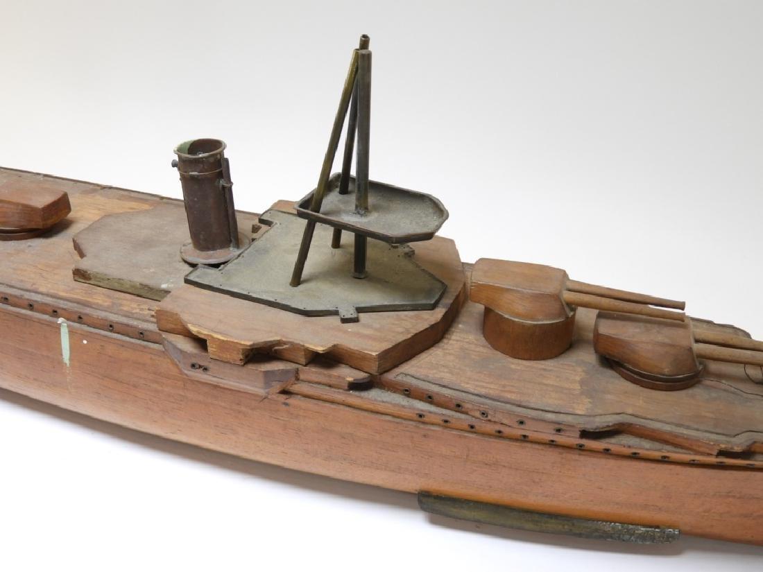 Carved Ship Model Spanish American War Battleship - 3