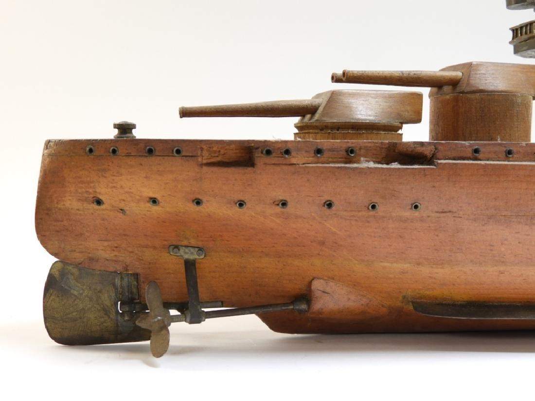 Carved Ship Model Spanish American War Battleship - 5