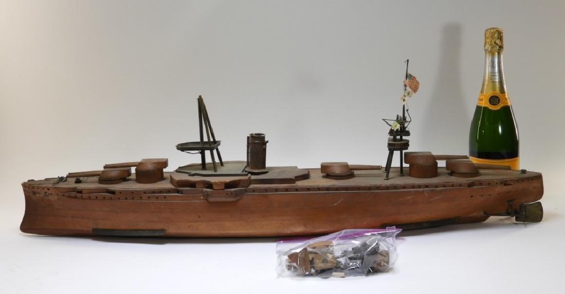 Carved Ship Model Spanish American War Battleship - 6