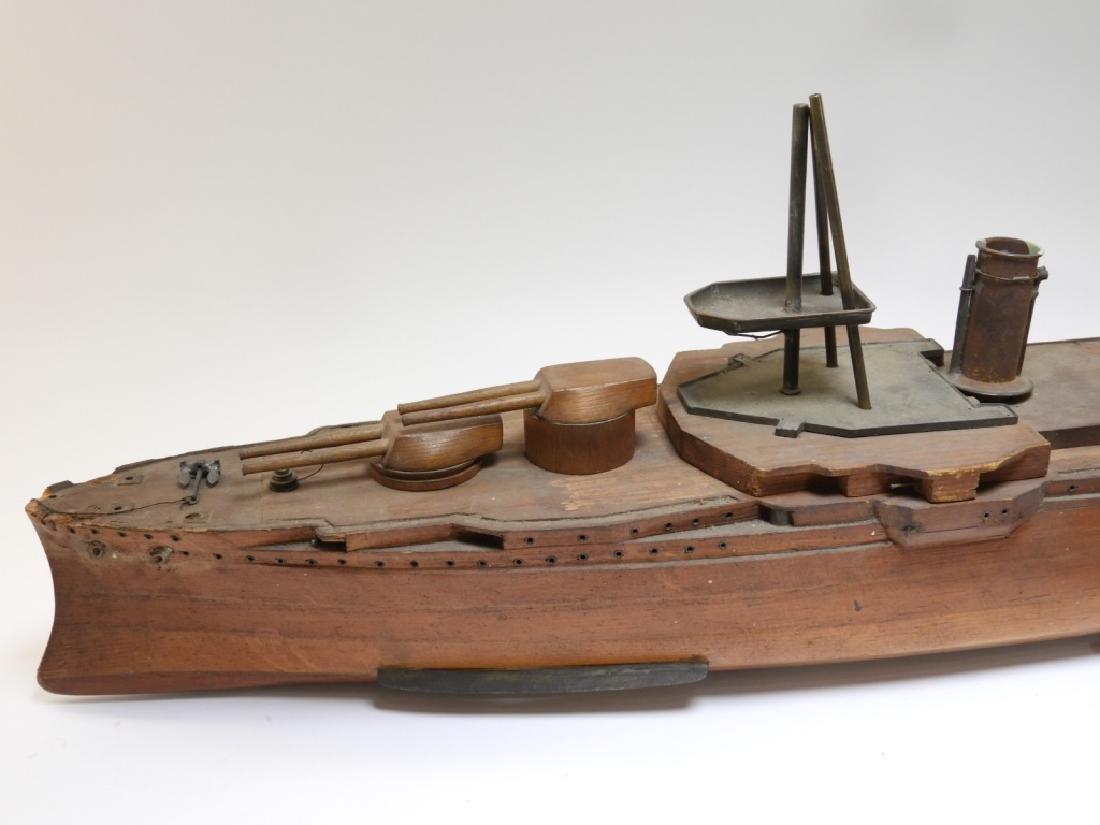 Carved Ship Model Spanish American War Battleship - 7