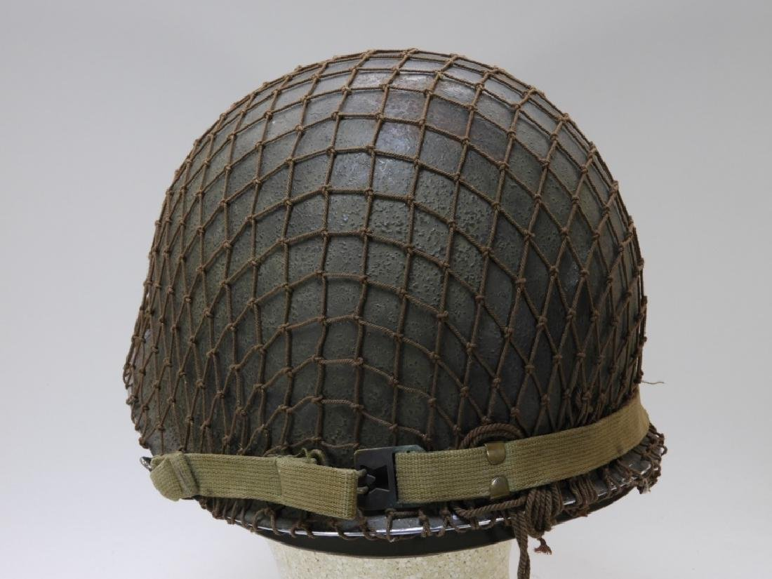 WWII U.S. Army M1 Helmet with Netting - 4