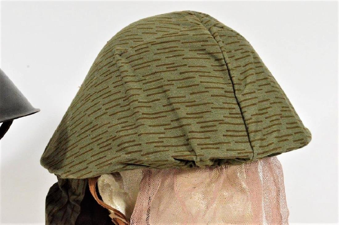 East German Steel Helmets one w/ Camouflage Cover - 3