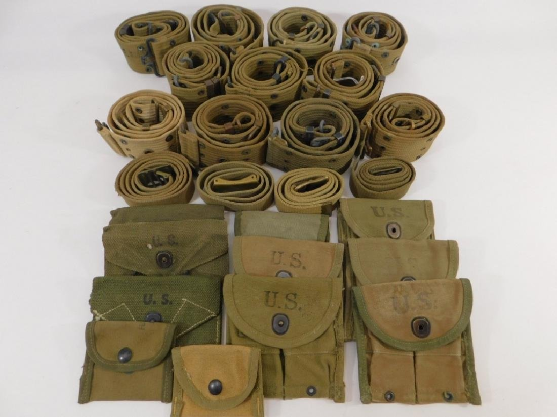WWII Web Belts, Ammunition and First Aid Pouches