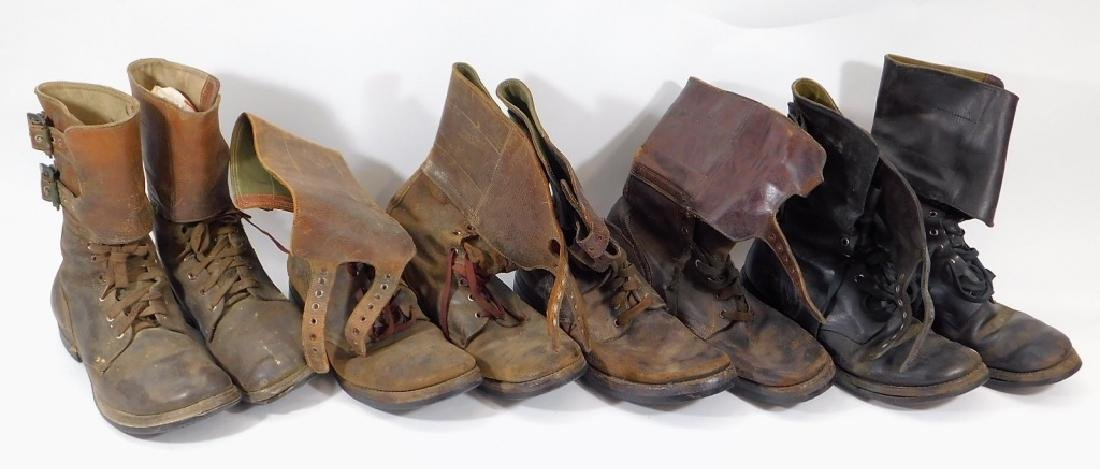 WWII U.S. Army Leather Combat Boots w/ Buckles (4)