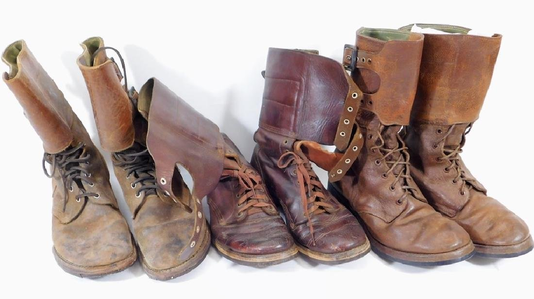WWII U.S. Army Leather Combat Boots w/ Buckles (3)