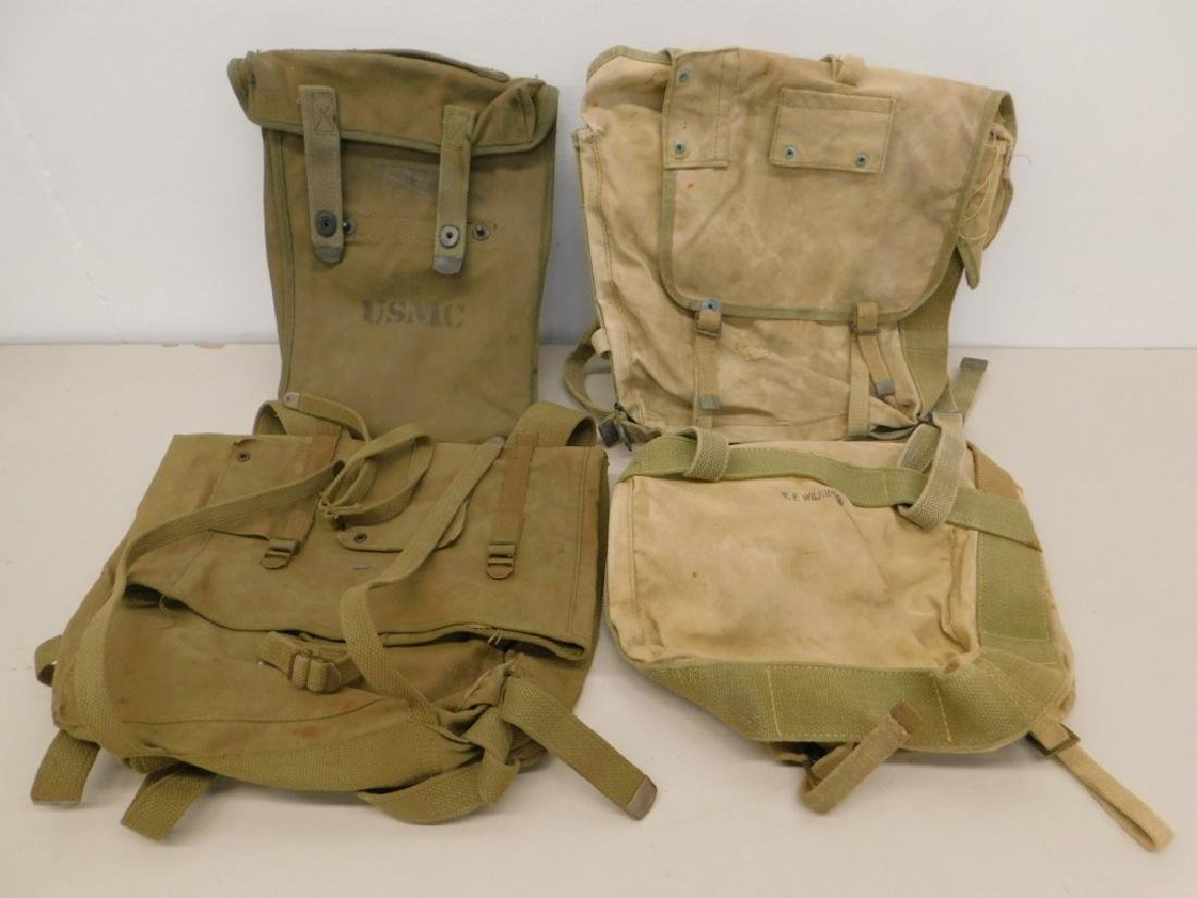 WWII Marine Corps Combat Field Packs & Pouch (4)