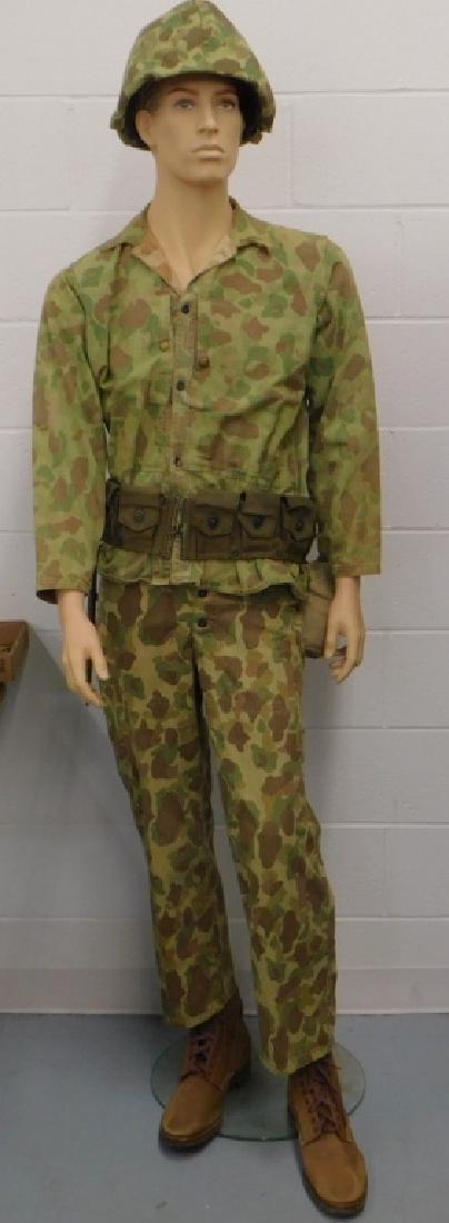 WWII USMC Combat Rig: Helmet-Uniform-Equipment