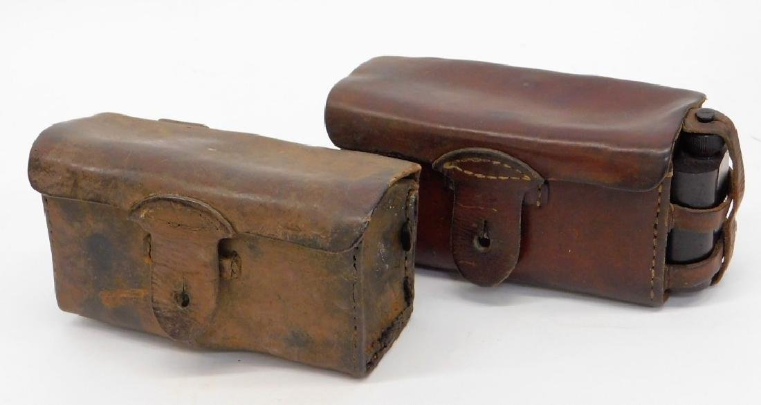 WWII Japanese Army Leather T-30 Ammo Pouches (2)