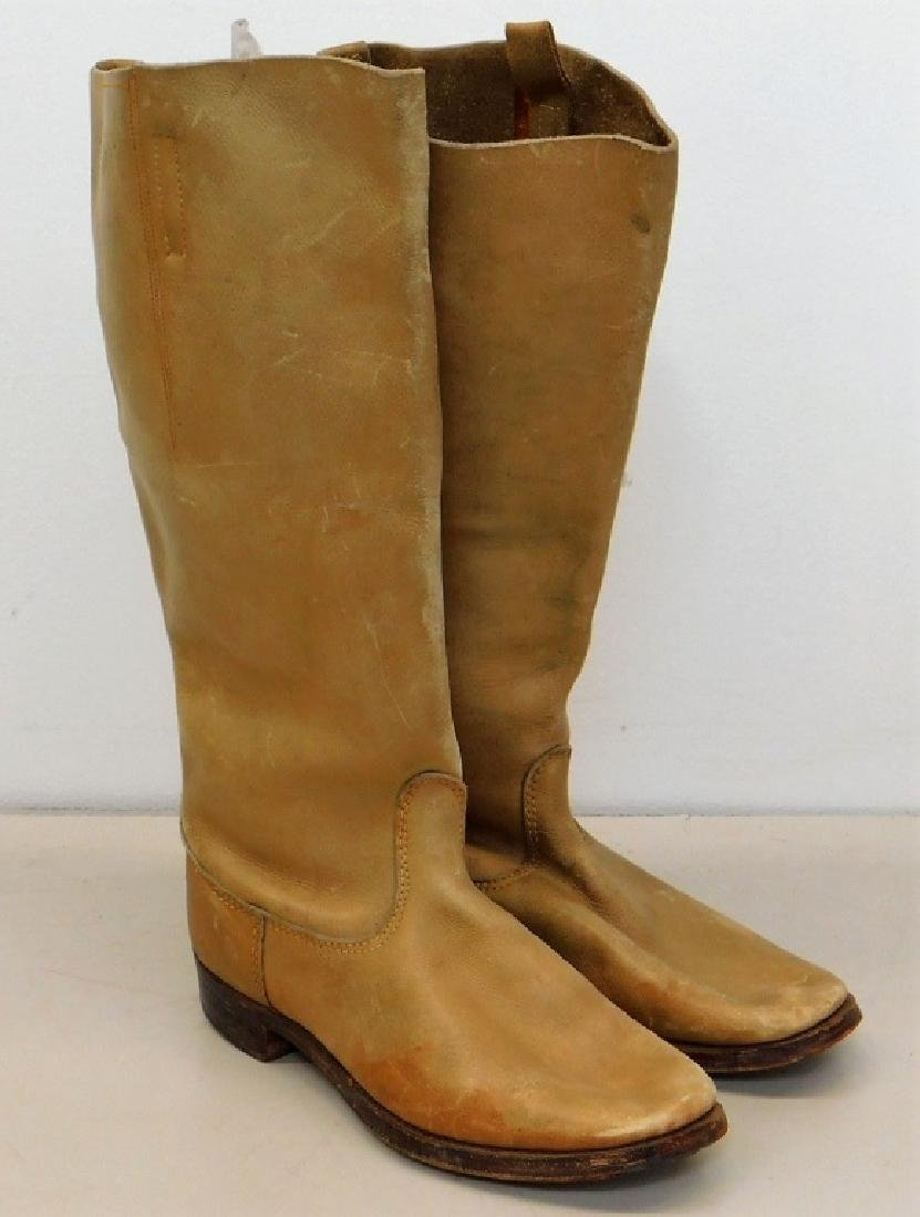 WWII Japanese Officers Tan Leather Cavalry Boots