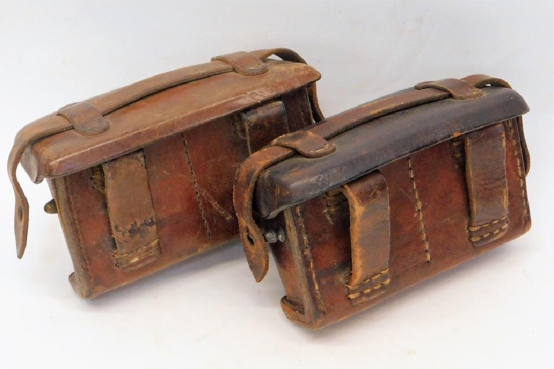 WWII Japanese Navy Leather Ammunition Pouches (2)