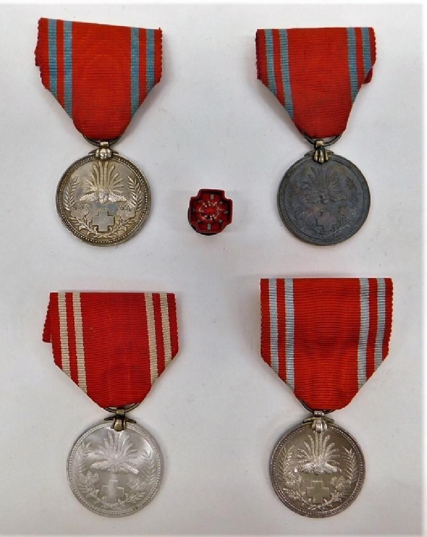 WWII Japanese Red Cross Merit Medals & Rosette 4
