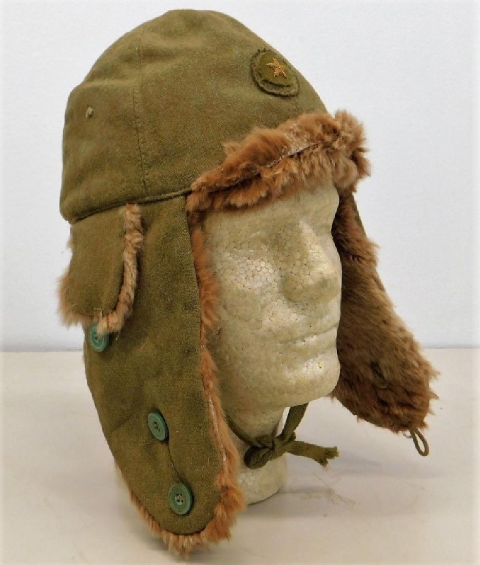 WWII Japanese Army Winter Cap w/ Bullion Insignia