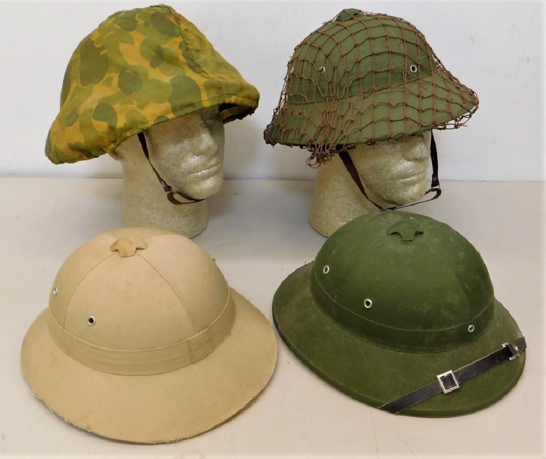 Vietnam War Viet Cong Sun Helmets in Tan & Green