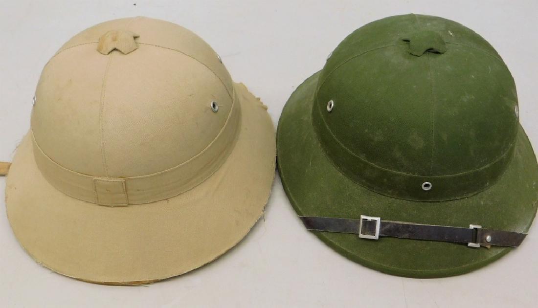 Vietnam War Viet Cong Sun Helmets in Tan & Green - 6
