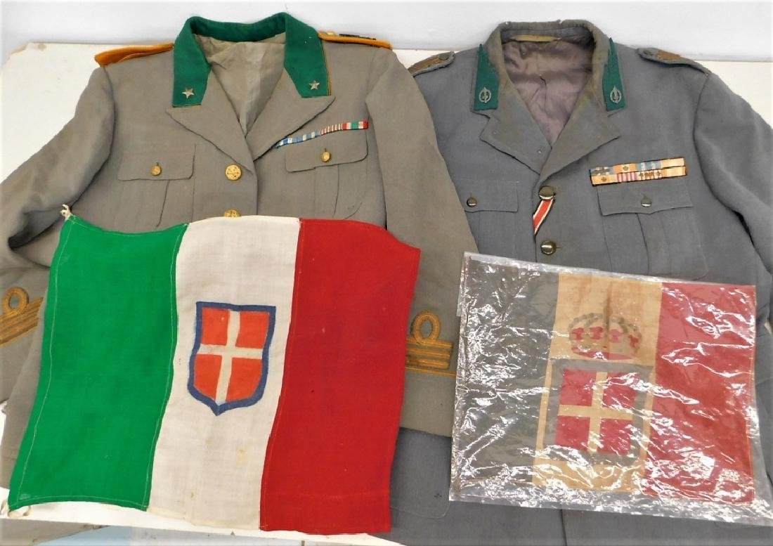 WWII Italian Military Uniforms with Ribbons/ Flags